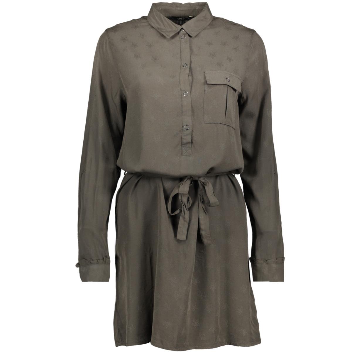 onlvera l/s jacquard shirt dress wv 15146813 only jurk black olive