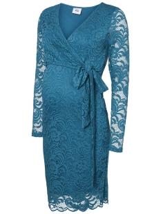 Mama-Licious Positie jurk MLMIVANA L/S WOVEN LACE WRAP SHORT 20007952 Ocean Depths