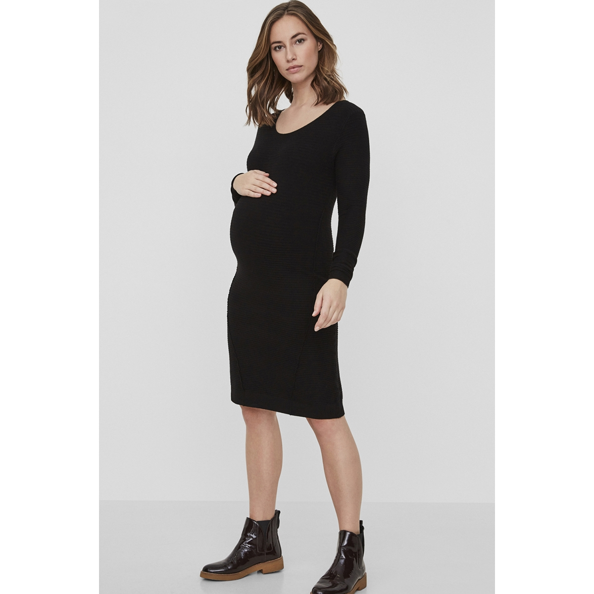 mllola l/s knit short dress 20008002 mama-licious positie jurk black
