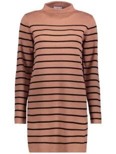 Jacqueline de Yong Jurk JDYADELE L/S HIGHNECK DRESS KNT 15146244 Burlwood / Black Stripe
