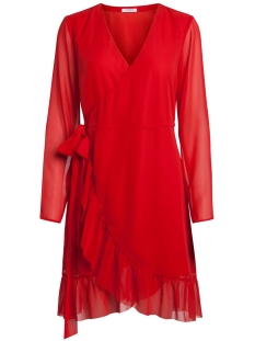 Pieces Jurk PCMABEL LS WRAP DRESS 17088151 Flame Scarlet