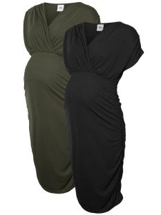 Mama-Licious Positie jurk MLPILAR S/S JERSEY ABK DRESS 2-PACK 20008290 Thyme/Black
