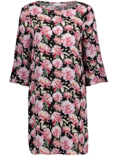 Jacqueline de Yong Jurk JDYVICTORY 3/4 O-NECK DRESS WVN 15157659 Black / Pink Flower
