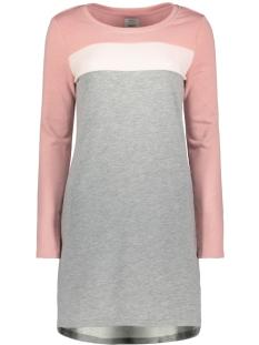 Only Jurk onlCINQE L/S ONECK BLOCK DRESS SWT 15165055 Lighy Grey Mela/LGM  BALL