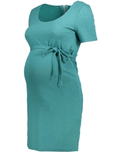 Mama-Licious Positie jurk MLHELENA S/S JERSEY SHORT DRESS 20008517 Green-Blue Slate