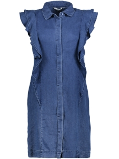 Vero Moda Jurk VMCOLE SL RUFFLE DRESS GA 10198343 Medium Blue Denim