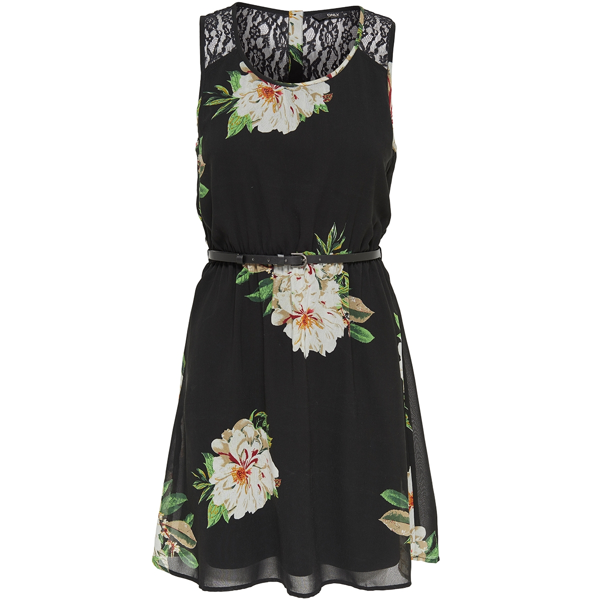 onljulie s/l lia lace short dress w 15144511 only jurk black/flower pri