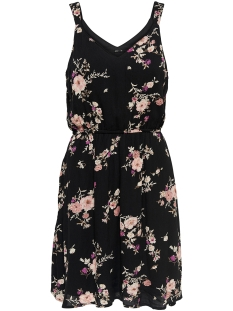Only Jurk onlKARMEN S/L SHORT DRESS AOP WVN N 15157655 Black/FLOWER PRI
