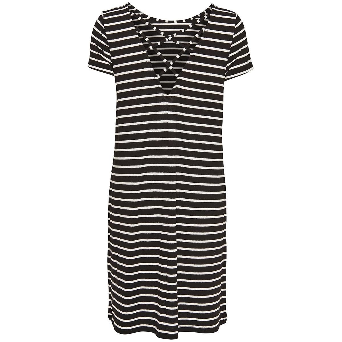 onlbera back lace up s/s dress jrs 15131237 only jurk black/cloud dancer