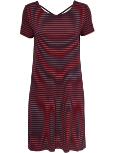 Only Jurk onlBERA BACK LACE UP S/S DRESS JRS 15131237 Night Sky/ Thin Red S