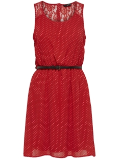 Only Jurk onlLIA LACE S/L BELT DRESS WVN 15164308 Flame Scarlet/CLOUD