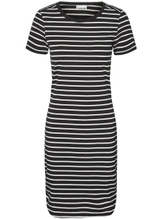 Noisy may Jurk NMSUMMER S/S  STRIPE DRESS NOOS 27002824 Black/Snow White