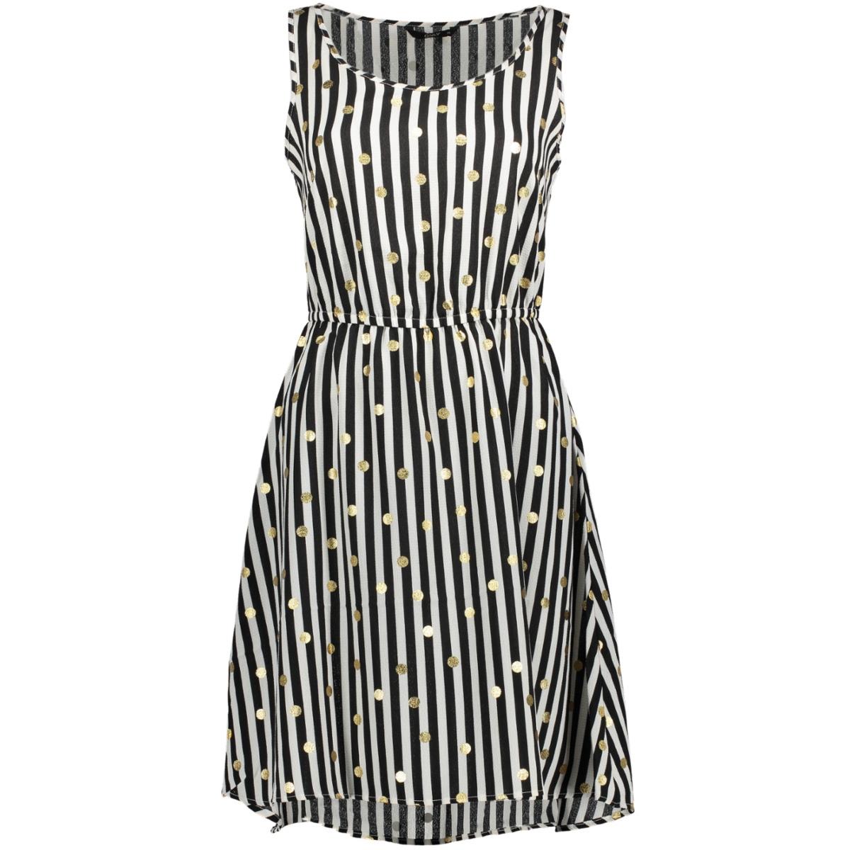 onlnova aop s/l sarah  dress lux wv 15158092 only jurk cloud dancer/golden stripe