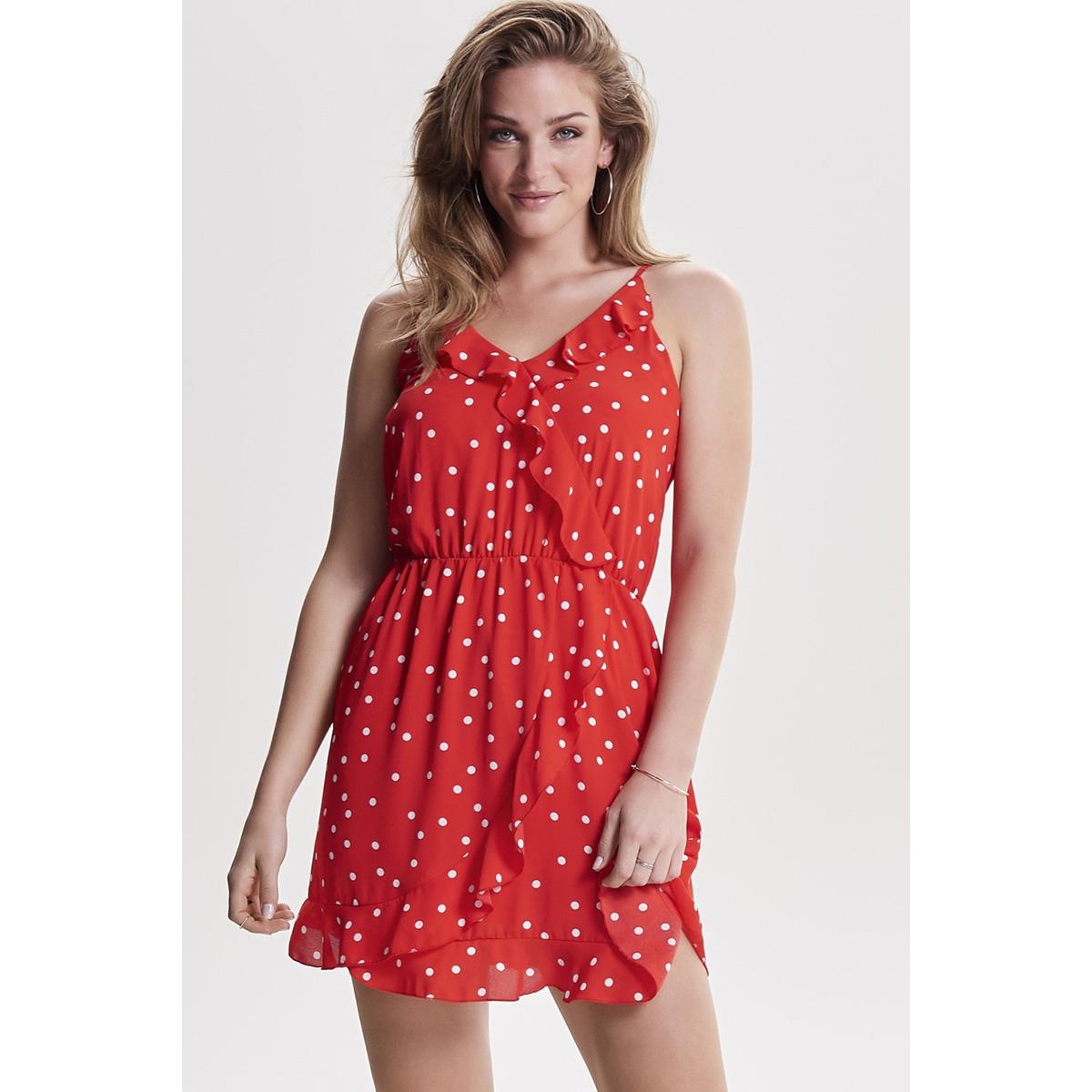 onlrubbi strap wrap dress wvn 15156590 only jurk flame scarlet