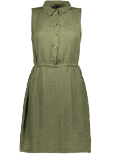 vmfaline jac s/l shirt knee dress d 10204470 vero moda jurk ivy green/jacquard