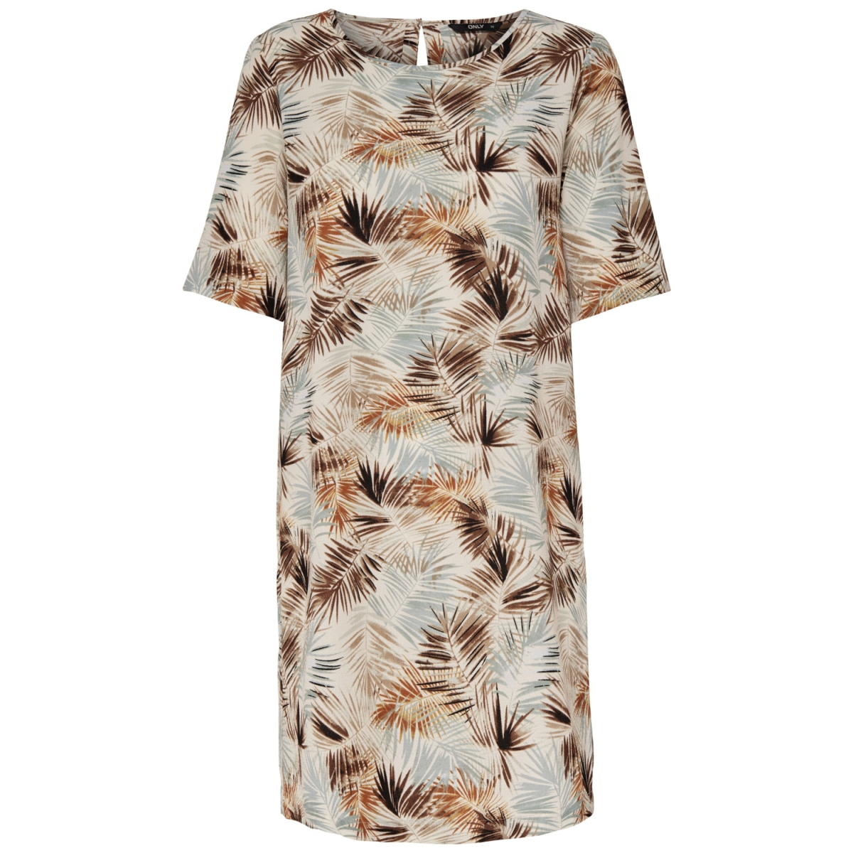 onlnova tee dress aop lux wvn 15158116 only jurk cloud dancer/summer leaf