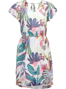Only Jurk onlMALIBU S/S DRESS WVN 15158267 Bright White/TROPICAL
