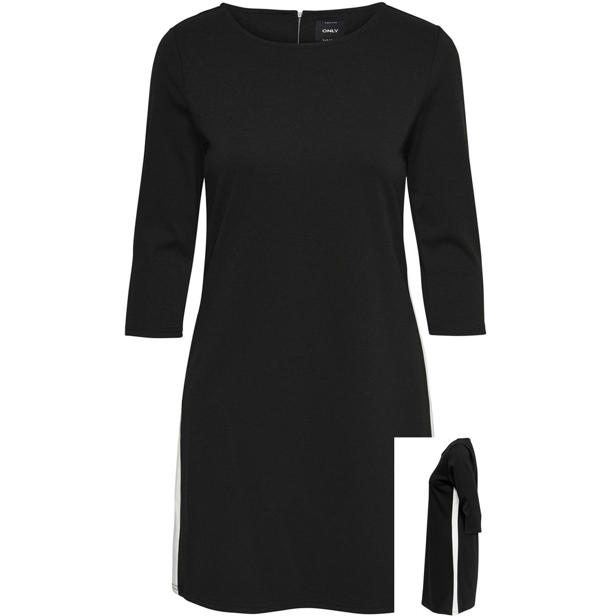 onlbrilliant 3/4 dress jrs noos 15160895 only jurk black/cloud dancer
