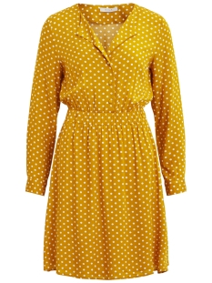 Vila Jurk VIMEANA L/S DRESS /RX 14051729 Nugget Gold/WHITE DOTS