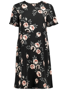 Pieces Jurk PCINEA SS FRILL SLEEVE DRESS PB 17091295 Black/BIG FLOWER