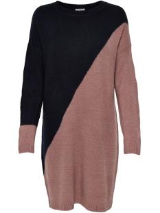 Jacqueline de Yong Jurk JDYEVA L/S DRESS KNT 15160963 NIGHT SKY/PINK