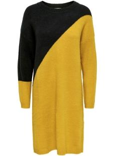 Jacqueline de Yong Jurk JDYEVA L/S DRESS KNT 15160963 NIGHT SKY/YELLOW