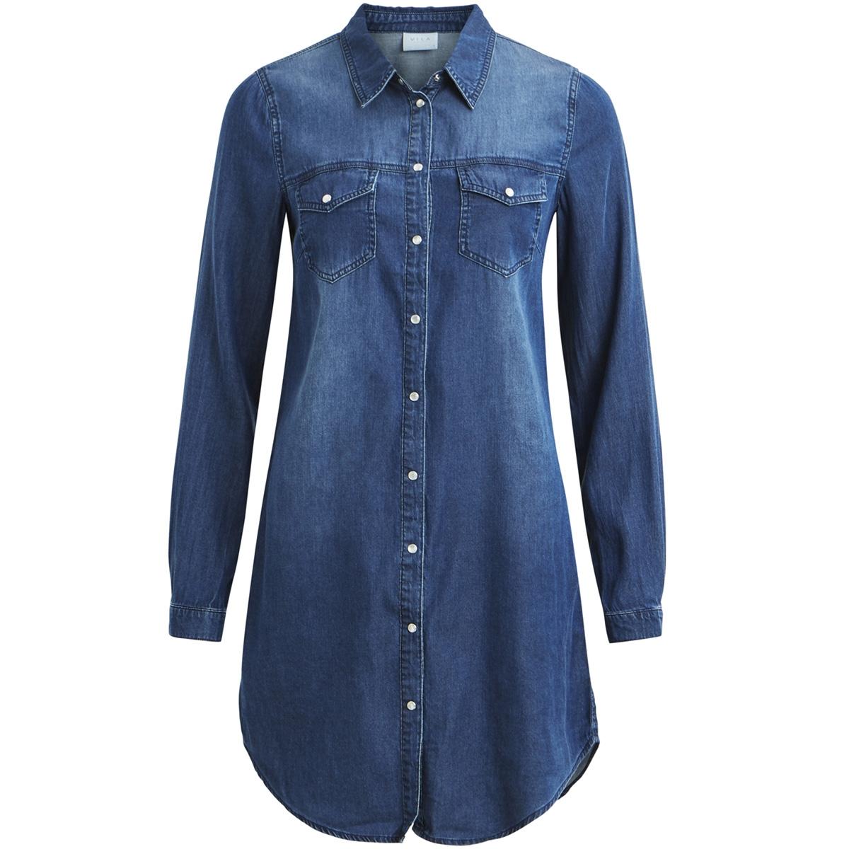 vibista denim dress-noos 14040911 vila jurk dark blue denim