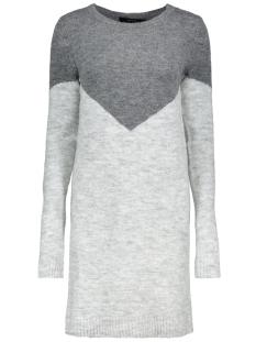 Vero Moda Jurk VMJUTA GINGER LS O-NECK DRESS ACC L 10203591 Medium Grey Mel/W.BOTTOM