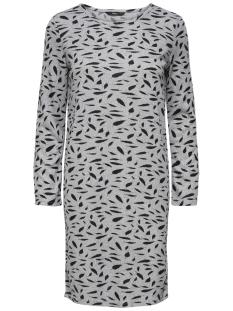 Only Jurk onlELCOS AOP SHORT DRESS 7/8 JRS 15150485 Light Grey Melange/BLACK FEATHERS