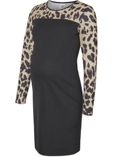 Mama-Licious Positie jurk MLLEOLUNA L/S JERSEY SHORT DRESS 20009397 Black/LEOPARD AO