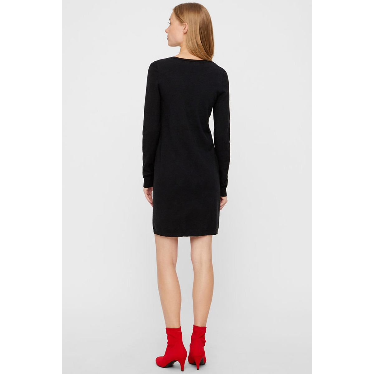 vmgin happy ls v-neck dress boo 10203289 vero moda jurk black