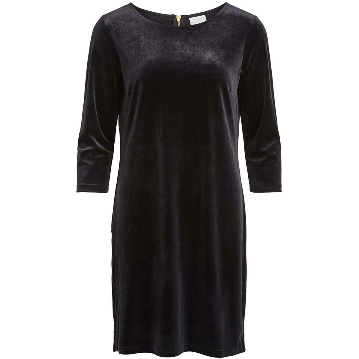 viminny velvet 3/4 sleeve dress 14049619 vila jurk black