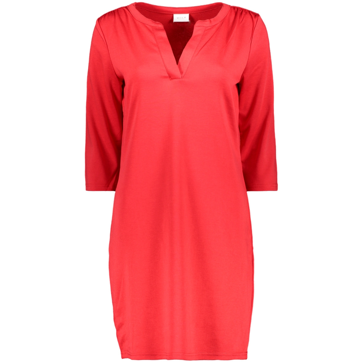 vitinny 3/4 sleeve v-neck dress 14052539 vila jurk tomato puree