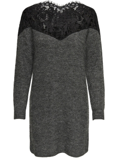 Only Jurk onlHANNA ALLY L/S LACE DRESS KNT 15160831 Dark Grey Melan/W. BLACK L
