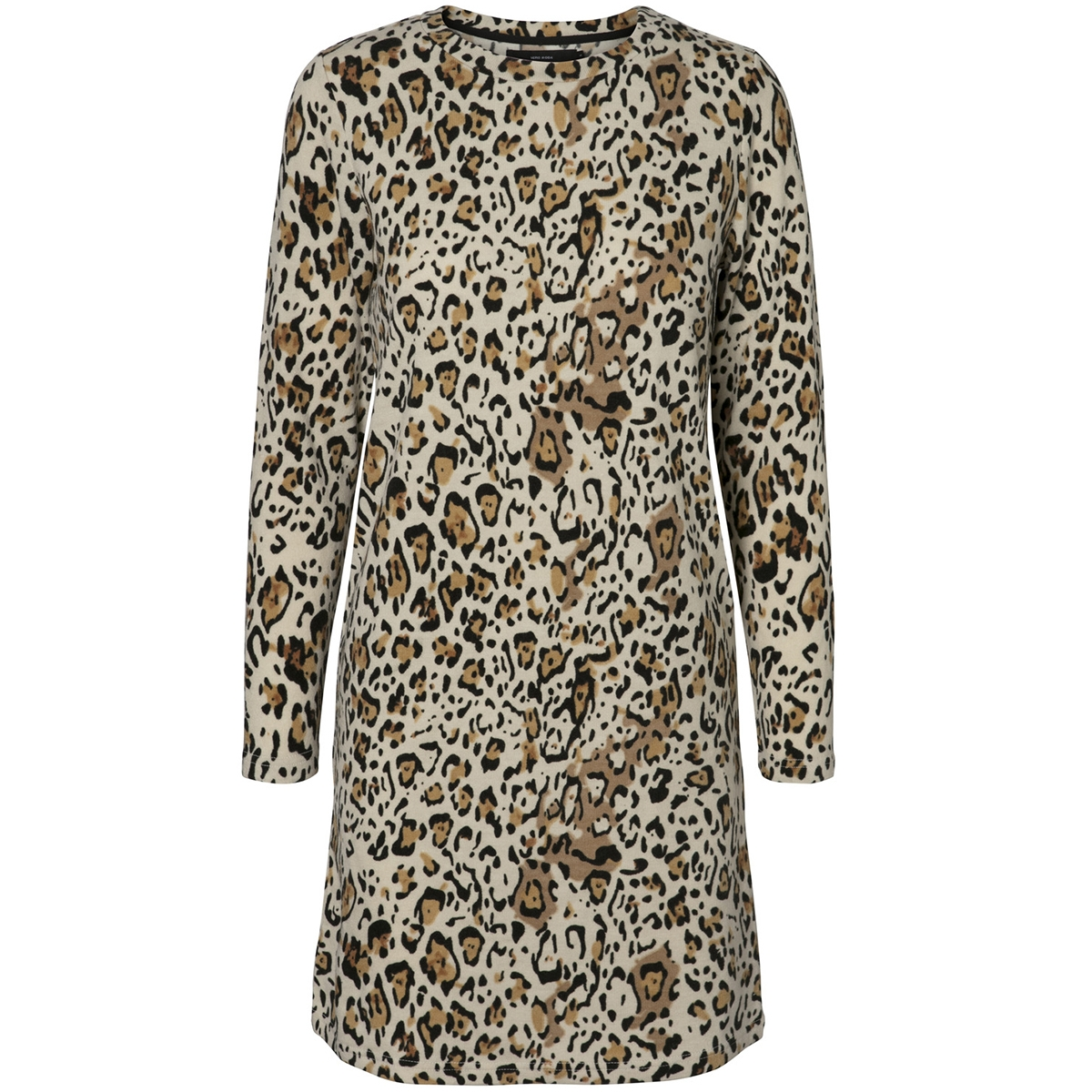 vmleo savannah ls o-neck dress 10206993 vero moda jurk oatmeal/w. black