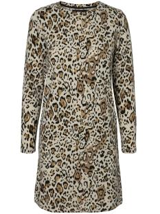 vmleo savannah ls o-neck dress 10206993 vero moda jurk oatmeal/w. black