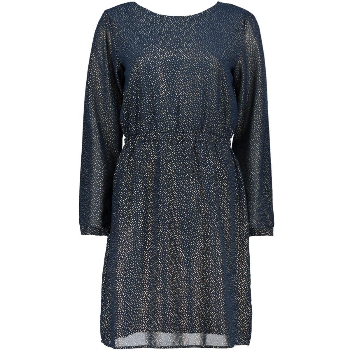 objhollie l/s dress a wi 23029434 object jurk sky captain/gold foil