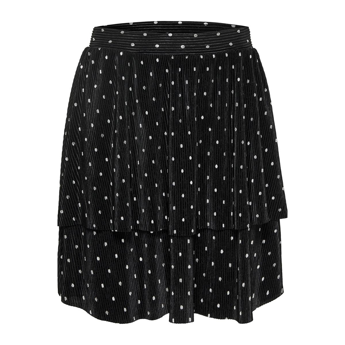 onlaisha tiered aop skirt jrs 15168782 only rok black/silver foil