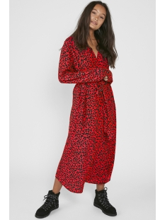 pcrikko ls long dress d2d 17097582 pieces jurk high risk red/leo