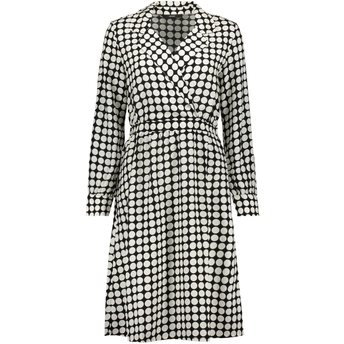 vmsarah dot ls knee el wrap dress k 10214631 vero moda jurk black/snow white