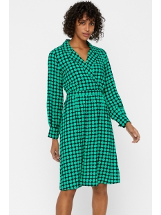 vmsarah dot ls knee el wrap dress k 10214631 vero moda jurk night sky/holly gree