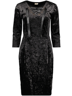 IZ NAIZ Jurk DRESS VELVET BLACK