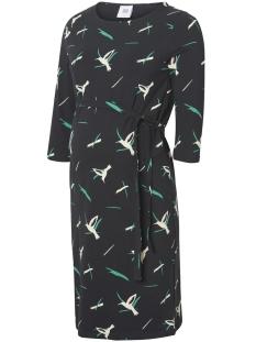 Mama-Licious Positie jurk MLLISETTA 3/4 JERSEY ABK DRESS A. V 20009536 Black/AOP SNOW W