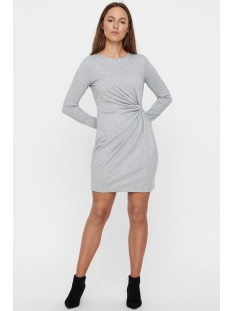 vmsmia l/s  knot dress d2-1 10211648 vero moda jurk light grey melange
