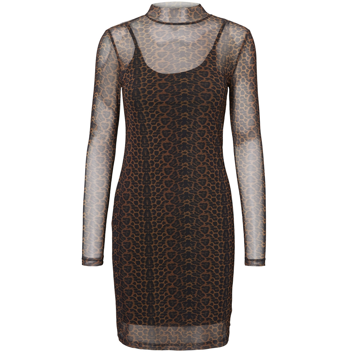 nmkarla  l/s dress 8 27005090 noisy may jurk black/leopard