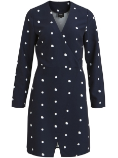 Object Jurk OBJAIDEEN L/S WRAP DRESS A PS 23029996 Sky Captain/WHITE DOTS