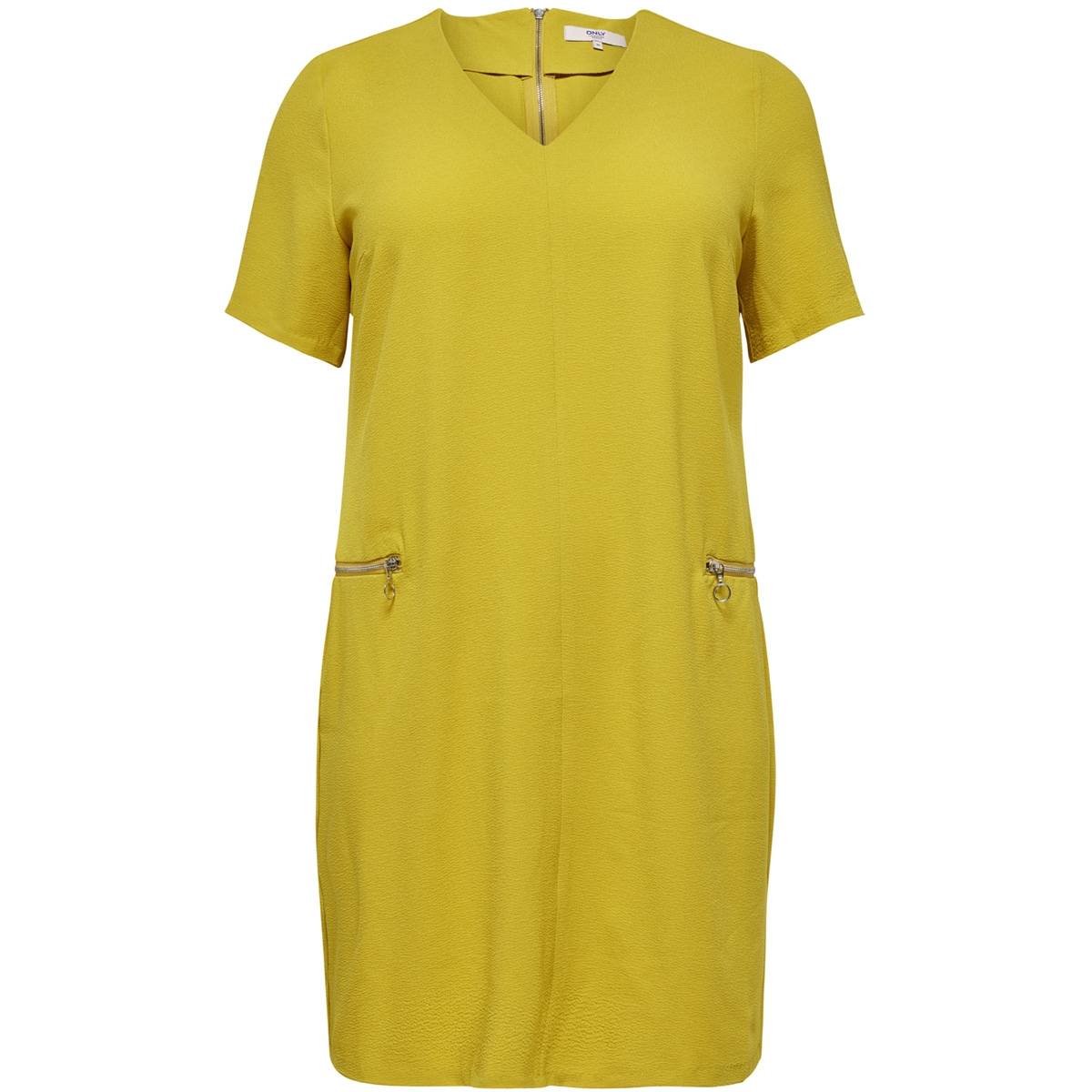 carcynara ss zipper dress 15172653 only carmakoma jurk lemon curry