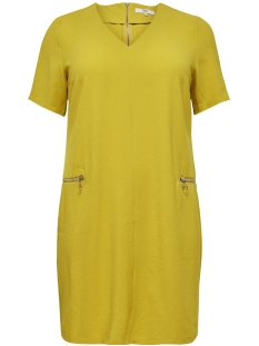 Only Carmakoma Jurk CARCYNARA SS ZIPPER DRESS 15172653 Lemon Curry