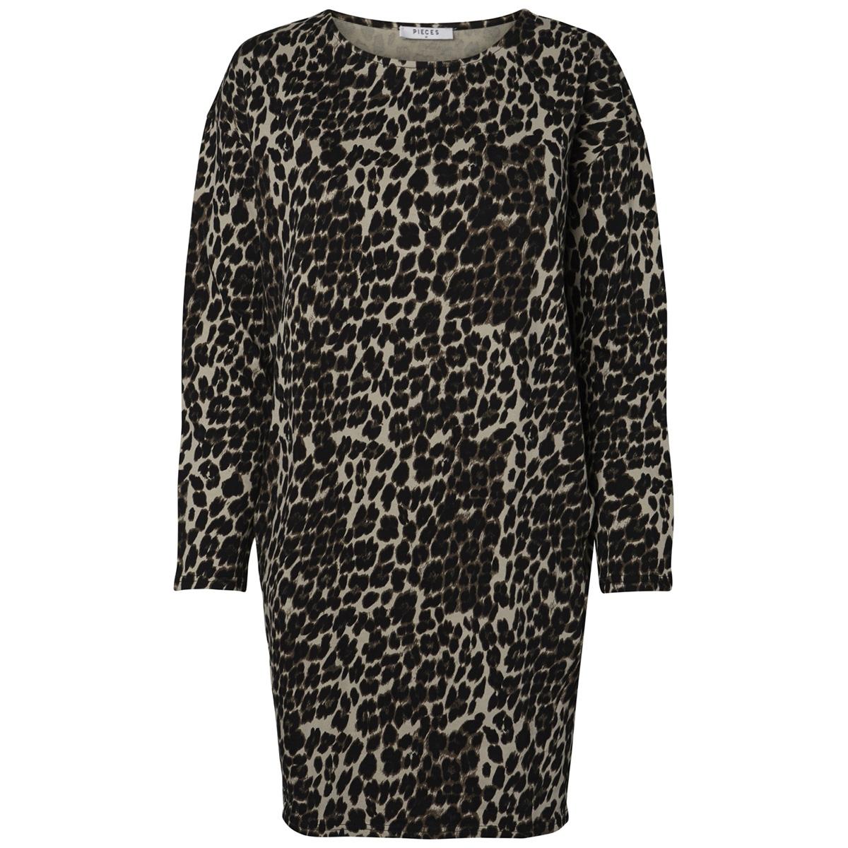 pcsibi ls sweat dress pb 17096214 pieces jurk black/leo