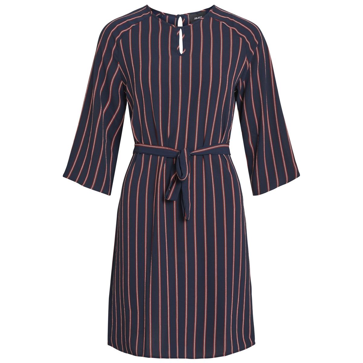 objleonie 3/4 dress i. 102 23028825 object jurk sky captain/striped